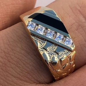 Men's 14k Gold Over Solid 925 Silver Nugget Ring